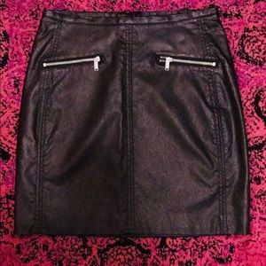 H&M Faux black leather fitted skirt, never worn